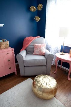 Gold,grey, Navy Blue, And Coral ❤ Girl Colors For Nursery Room Part 68