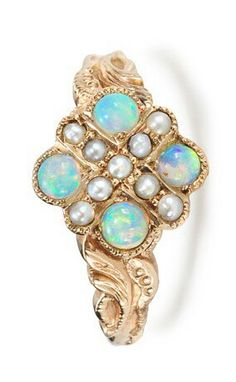 Mid 20th century pearl and opal ring #VintageJewelry #VintageRing #opalsaustralia