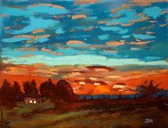 Impressionistic House Pastel - Blue Sunset Pastel by Joseph Hawkins