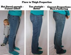 Jean fitting tips (pictured is Flare vs Skinny cut) as well as pocket placement contrast stitching wash fading and feathering. She stresses if it doesn't look right it's not you it's the jeans! Perfect Jeans, Perfect Fit, Buy Jeans, Plus Size Model, Capsule Wardrobe, Plus Size Fashion, What To Wear, Skinny Jeans, Jeans Fit