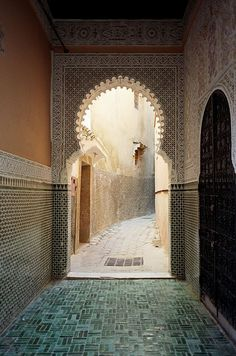 Some beautiful intricate tiling and sculpting hidden in Morocco.