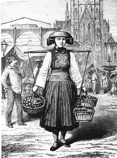 101 Woman from Vierlande in Hamburg market. End of the nineteenth century. - THE…