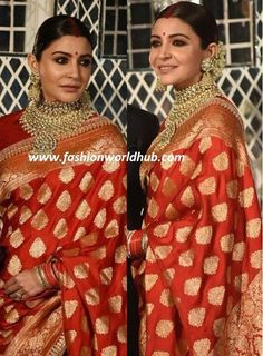 Banarasi sarees: a superb blend of ethnicity, traditions and just divine beauty! Silk Saree Kanchipuram, Banarasi Sarees, Silk Sarees, Anushka Sharma And Virat, Virat Kohli And Anushka, Vintage Bollywood, Red Saree, Saree Blouse, Red Wedding