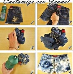 Perfect for thrift store jeans..  Definitely trying! How to tie dye, acid wash thrift store jeans. Make jeans into shorts.