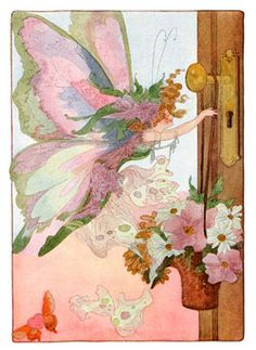 Fairy hanging May Day basket on door