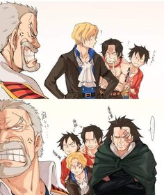 +dragon and garp – – Monkey D Luffy One Piece Manga, One Piece Meme, One Piece Comic, One Piece Funny, One Piece Drawing, One Piece Fanart, One Peice Anime, Sabo One Piece, One Piece Pictures