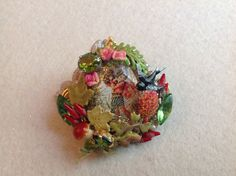 Vintage Victorian fairy ring ,glass cab, rhinestones ,Miriam Haskell's elements ,vintage stamens, enamel sparrow, leaves and pine cones by Lunabarocca on Etsy