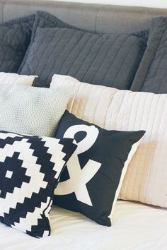 crate and barrel & pillow, affordable bed pillows, bedroom styling
