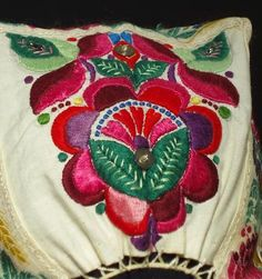 Slovak Folk Costume Embroidered Bonnet Headdress Floral Embroidery Ethnic Kroj