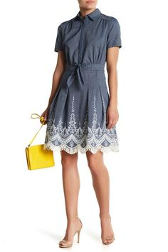 Image of ECI Short Sleeve Embroidered Denim Dress