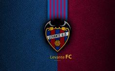 Download wallpapers Levante UD FC, 4K, Spanish football club, La Liga, logo, emblem, leather texture, Valencia, Spain, football