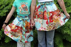 A Fabric Lover's Apron Tutorial ~ a half apron sewing project designed to show off your most favorite fabric collection. OH, I so love this idea and wondered why I haven't thought of this already!  I've several fabrics for each member of the family ~ GREAT gift giving!