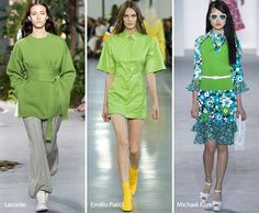 Fun look on the right (Spring/ Summer 2017 Color Trends: Greenery)