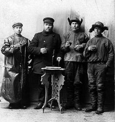 Portrait of Four Pomor fishermen from Vardø, 1890-1900's.