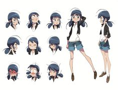 Miraculous: Tales of Ladybug & Cat Noir — Check out this Marinette expression sheet concept. Character Sheet, Character Drawing, Character Concept, Concept Art, Character Design Animation, Character Design References, 3d Animation, Lady Bug, Cartoon Drawings