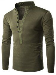 f2462b648578 Half Single-Breasted Stand Collar Long Sleeve T-Shirt Grandad Collar Shirt,  Cheap