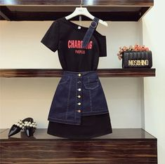 ⚠model - 💰 🦠Kot Etek + Tshort ikili Set 💯s m l bedenl. Kpop Fashion Outfits, Ulzzang Fashion, Korean Outfits, Cute Fashion, Stylish Outfits, Korean Fashion, Fashion Dresses, High Waisted Denim Skirt, Style Grunge