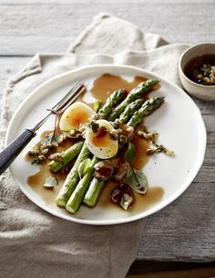 Asparagus With Soft-Boiled  Eggs, Capers, and Bone Marrow Broth
