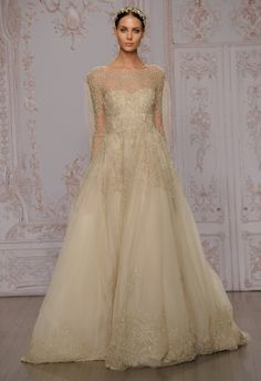 Gold Long sleeved wedding dress from Monique Lhuillier's 2015 Collection