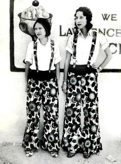 Flappers in wide-legged pants, 1929....have to pass on  this one lol