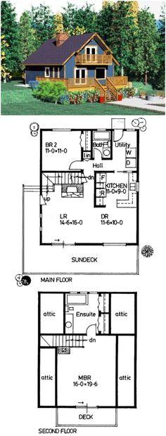 Cabin Style House Plan 90847 with 2 Bed, 2 Bath Cabin House Plans House Plan Cabin House Plans, Cabin Floor Plans, Small House Plans, Tiny Cabin Plans, Tiny Home Floor Plans, Haus Am See, Casa Loft, Cottage Plan, Cottage Bath