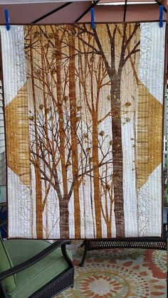 Art Quilt Forest Wall Hanging in Browns Golds and Creams