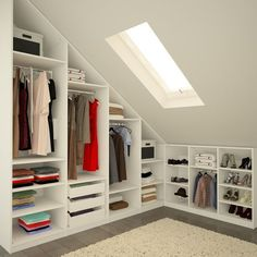 Magnetic attic storage,Attic bedroom design ideas and Attic room low ceiling. Attic Bedroom Designs, Attic Design, Closet Designs, Small Attic Bedrooms, Loft Bedrooms, Interior Design, Diy Interior, Small Attic Bathroom, Small Attic Room