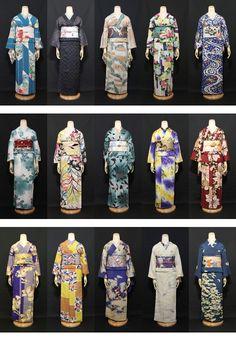 More possible costumes for the ladies of Titipu. Japanese Pics, Traditional Japanese Kimono, Geisha, Japanese Textiles, Japanese Fabric, Judo, Kabuki Costume, Karate, Kimono Japan
