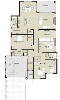 Overview The San Remo is an extremely spacious and modern design, the perfect choice for families. Bedroom House Plans, Dream House Plans, House Floor Plans, Shipping Container Home Designs, Container House Design, Flat Plan, Huge Master Bedroom, House Ideas, House Blueprints