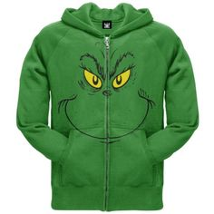 Dr. Seuss - Mens Grinch Face Zip Hoodie