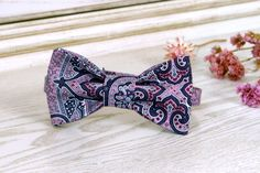 Paisley Bow Tie Sweet Lilac and Festival Fuchsia   Mens Bow Ties  Wedding Bow Tie   Lilac Paisley Bow Tie by HolmesTies on Etsy