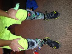 It was crazy sock day at my 8 year olds school! So we grabbed his black knee high football socks, stitched some fake spider webs on them and then slapped some fake bugs and spider into the mix!!! Cheap, quick, and a lot of fun!!!