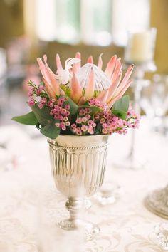 Protea wedding centerpiece in blush pink with purple pink Waxflower blossom. Wedding Flower Arrangements, Wedding Centerpieces, Wedding Table, Fall Wedding, Floral Arrangements, Wedding Decorations, Centrepieces, Small Centerpieces, Table Arrangements