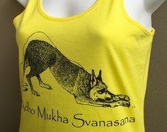 Items similar to Adho Mukha Svanasana ladies regular singlet on Etsy Yoga Gifts, Yoga Inspiration, T Shirts For Women, Tank Tops, Trending Outfits, Lady, Unique, Vintage, Fashion