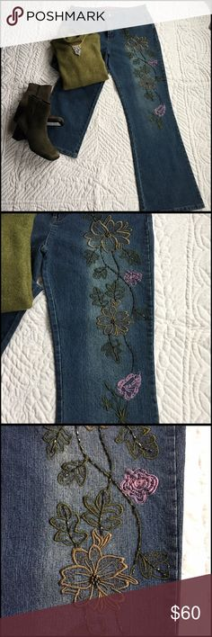 Cosmopolitan jeanwear  Embroidered jeans w/ Top Set with top and jeans both New never worn. The jeans have a beautiful Embroidery on one leg down the front. Inseam is 31 inches. Waist button is 36 inches approx  high waist.. 78% Cotton 20% Polyester  2% SpandexHand wash/wash with dark colors separately. Hang dry. Boot cut opening and two back pockets. Top is by Jones New York Mock turtleneck. SizeXl tons of stretch. 67% Acrylic 30% Nylon 3% Spandex Hand wash/ dry flat Sleeve length is 24…