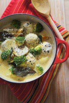 南瓜&里芋の鶏胡麻団子の豆乳シチュー|レシピブログ