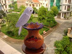 білий папуга на Вазі... | Альбом | Нга | 3D орігамі мистецтво