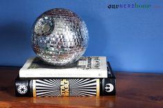 DIY Death Star Disco Ball - easy tutorial using a Styrofoam ball & silver sequins. FABULOUS.