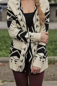 Oversized Aztec Cardigan With Skinny Jeans