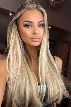 Brown Eyes Blonde Hair, Blonde With Blue Eyes, Platinum Blonde Hair, Black Hair, Hair Color Streaks, Hair Color Highlights, Hair Color Balayage, Blonde Balayage, Hair Colors For Blue Eyes