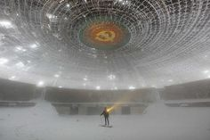 Buzludzha, a monument on a mountain top in Bulgaria. No longer used, completely abandoned to the elements, it serves a new purpose.