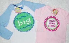 Big Brother Little Sister Raglan Tshirt Set by AbsolutelyDarling, $40.00
