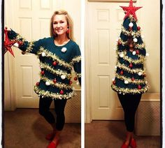 The human christmas tree- better than the ugly sweater!