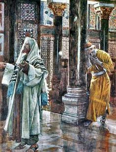"""The Pharisee and the Publican. - Luke 18:13, """"And the publican, standing afar off, would not lift up so much as his eyes unto heaven, but smote upon his breast, saying, God be merciful to me a sinner""""."""
