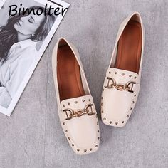2fb3f2500 US $25.79 |Aliexpress.com : Buy Bimolter Fashion British Style Flat Shoes  Women Soft Sole Comfortable Loafers Rivet Metal Buckle Square Toe Boat  Shoes ...