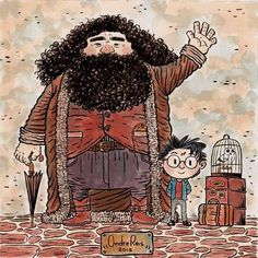 harry potter and hagrid - hogwarts