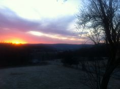 Sunrise on West Hill Road, Spencer, NY 2/21/12. Shot with iPhone 4.