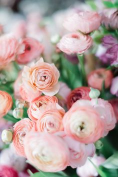 Pink and peach ranunculus are so cheerful and they make me so happy! Pink and peach ranunculus are so cheerful and they make me so happy! These bright flowers are perfect for whimsical and cheerful flower designs. Photo by Kristen Honeycutt Bright Flowers, Exotic Flowers, Purple Flowers, Beautiful Flowers, Yellow Roses, Pink Roses, Tropical Flowers, Pink Peonies, Fresh Flowers