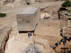 See that absurdly massive stone block? Yeah, that's not the one we're talking about. Look over to the right. German archaeologists working at the Baalbek site in Lebanon have uncovered the largest known ancient block.