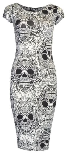 Womens Cap Sleeved Skull Print Midi Length Dress